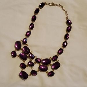 Fashion jewelry Goldtone and amethyst necklace
